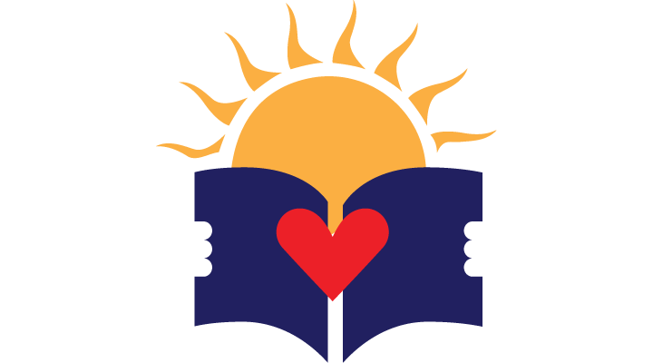Sunsites Library Logo - sun holding book
