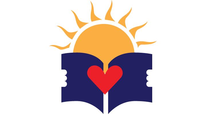 Sunsites Library Logo - sun holding book